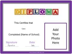 generic diploma for kids