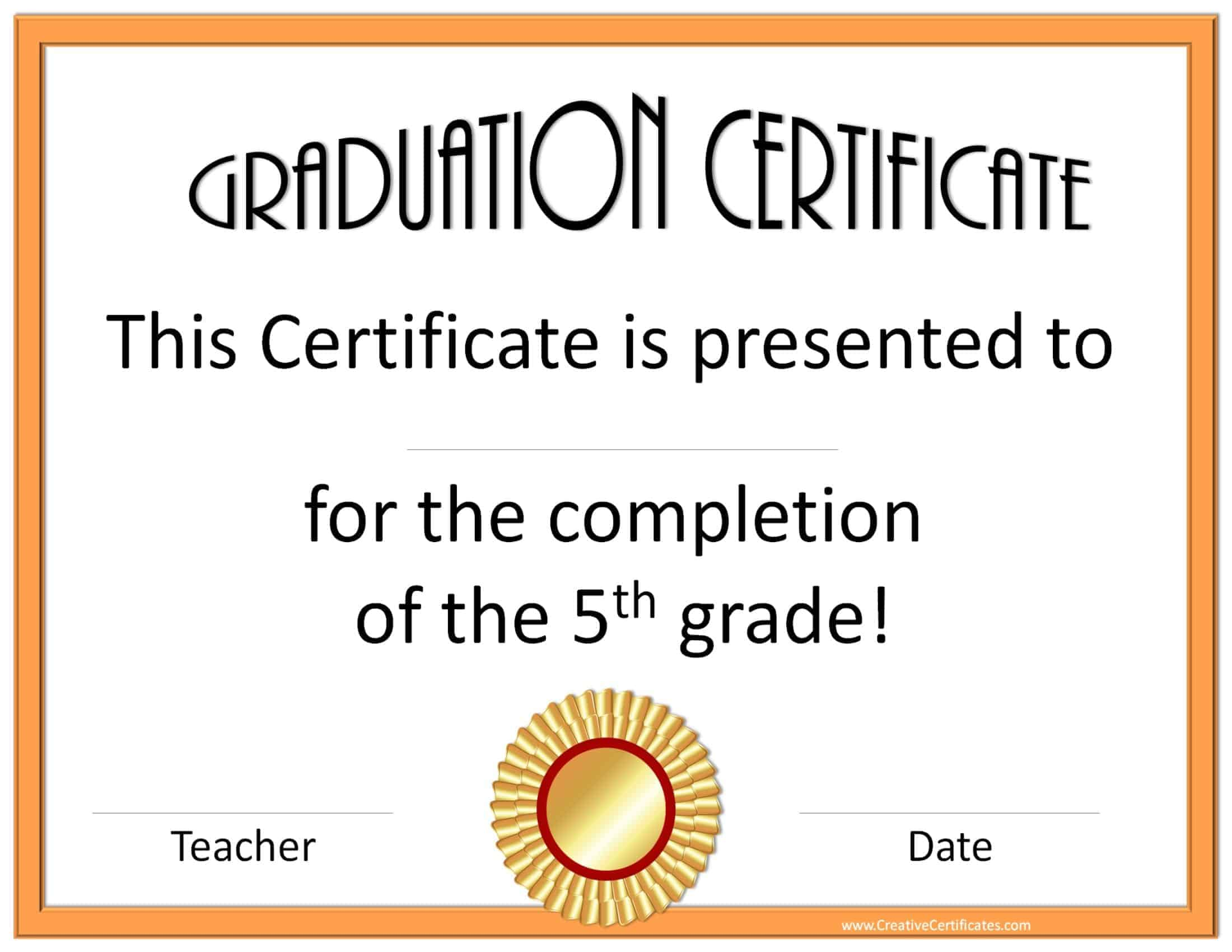 graduation certificates for school printable graduation certificate grade 5