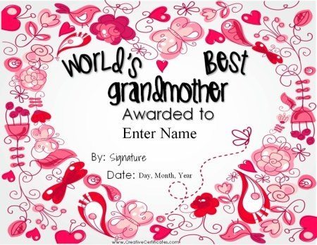 certificate of appreciation for grandmother