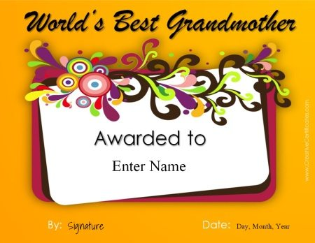 certificate for grandmother