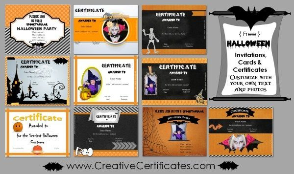 Halloween invitations, cards and certificates