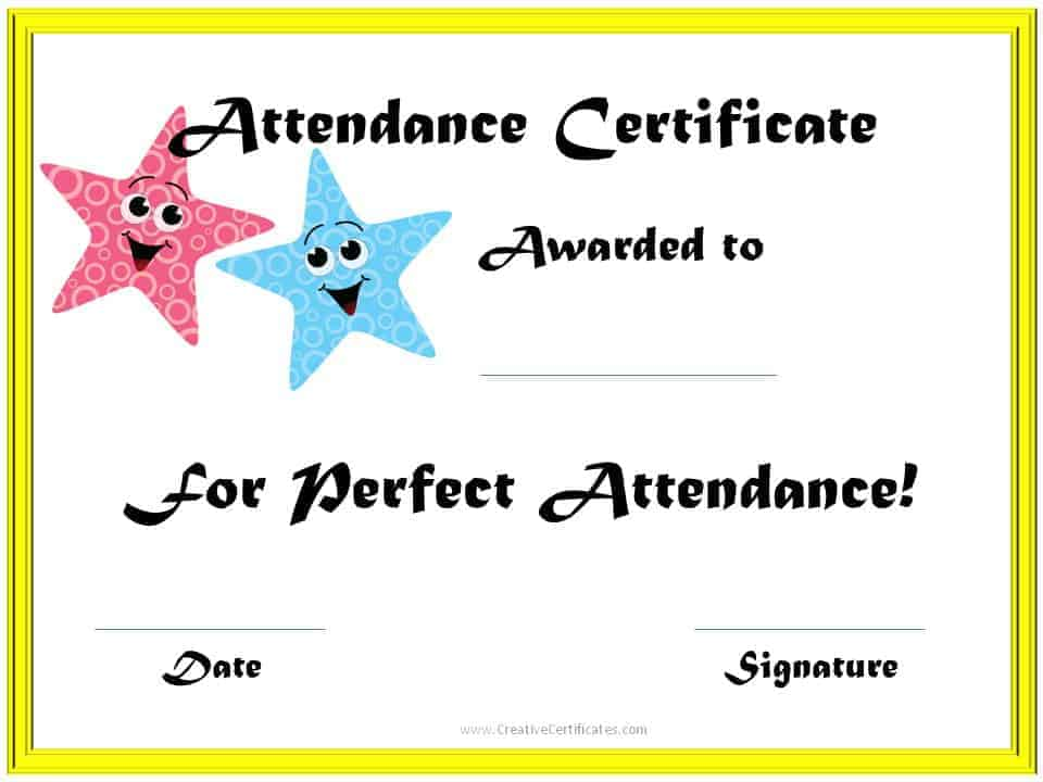 ... printable sample ms word templates free printable perfect attendance