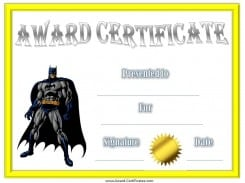 Batman Award Certificate