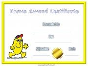 Award Certificate for being brave