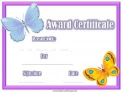 Award Certificate with a pink border and two butterflies