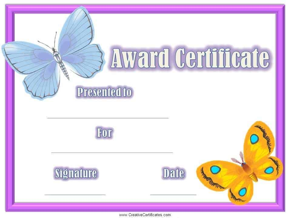 childrens certificates free and customizable