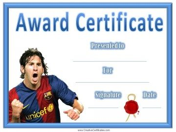 Messi soccer award