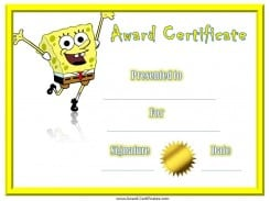 Spongebob Award Certificates