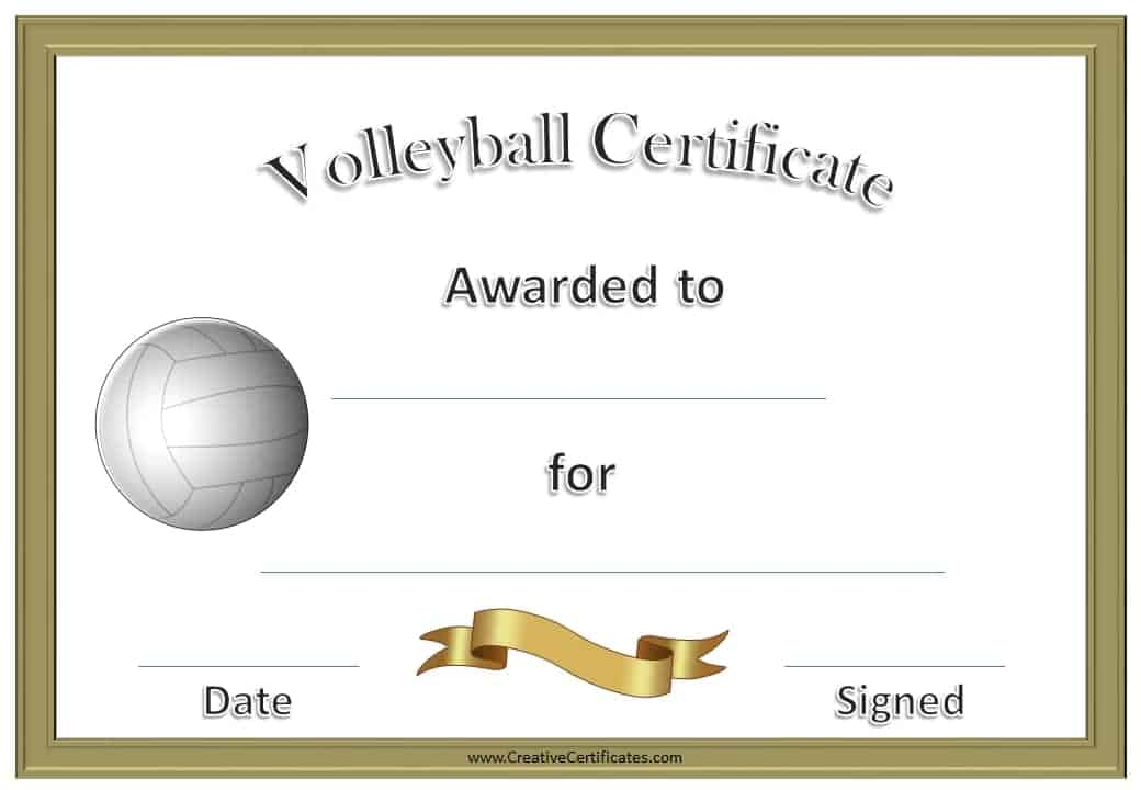volleyball award certificates