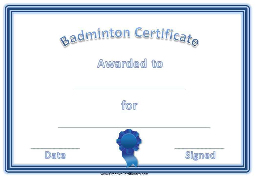 Free Badminton Certificate Template - Customize Online