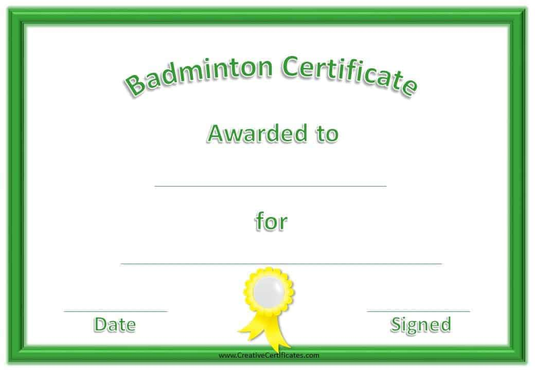 Free Badminton Certificate Template Customize Online – Free Award Templates