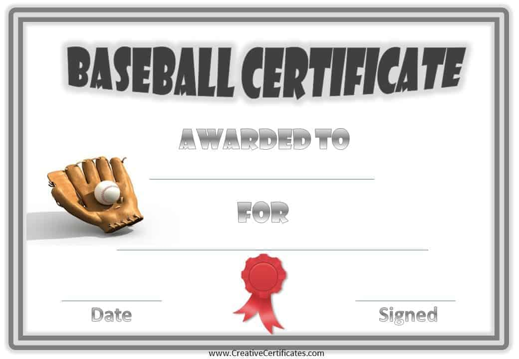 free baseball certificate awards
