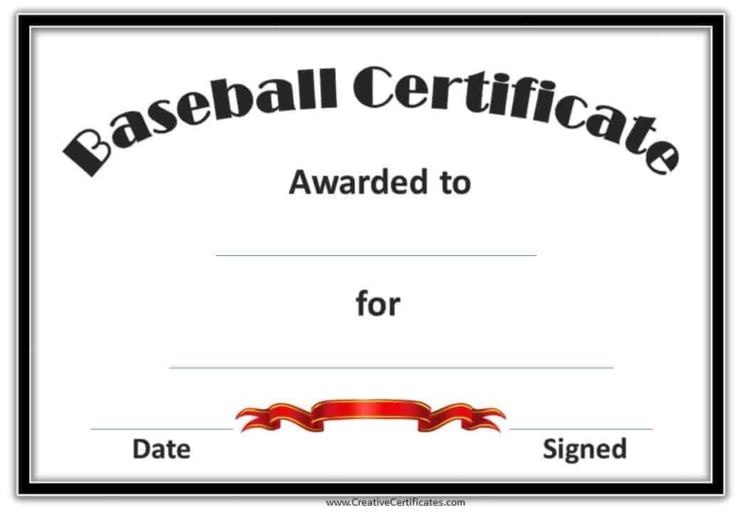Free Baseball Certificate Awards Customize Online – Printable Certificate of Recognition