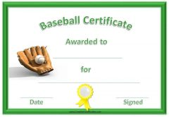 baseball certificate with green border, yellow ribbon, baseball and ball