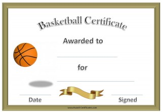 basketball certificate with a gold border and a picture of a basketball bouncing