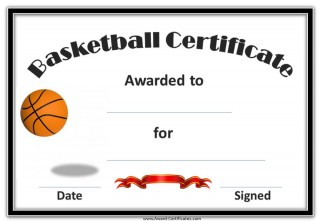 basketball award with a black border and a red ribbon