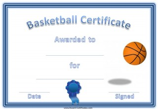 basketball award certificate with a blue border, a blue ribbon and an image of a basketball