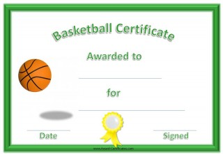 basketball award with a green border and a yellow ribbon