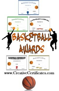 free printable basketball awards with 5 different sample certificates