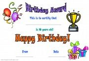 birthday certificate template for a child celebrating a 10th birthday