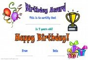 free birthday certificates for children - age 7