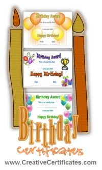 A picture showing a sample of birthday certificates available on this site for download