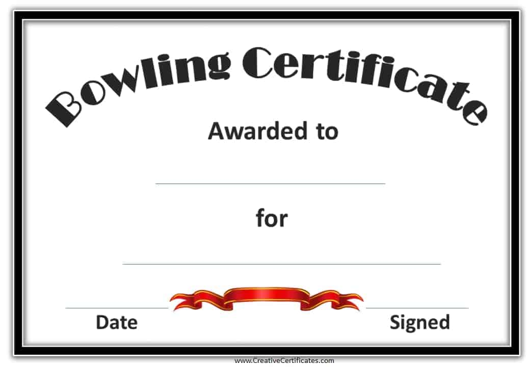 Free bowling certificate template for Bowling certificate