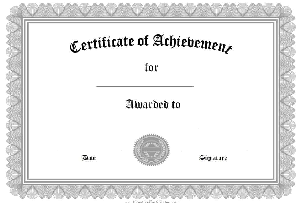 Formal Award Certificate Templates – Template Certificate of Achievement