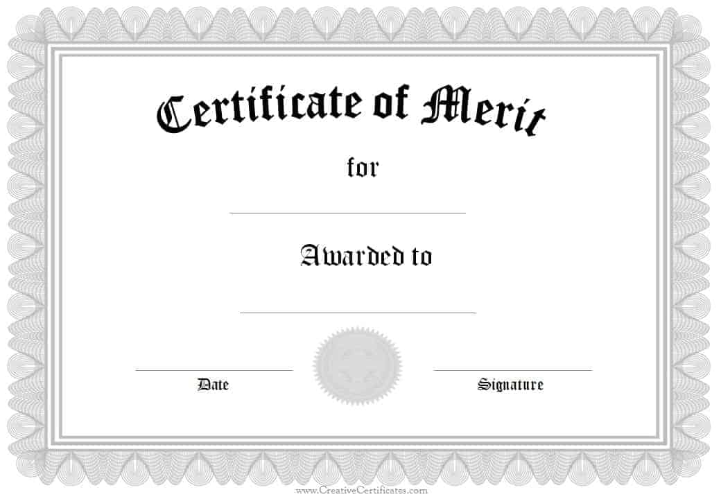 Editable Certificate of Merit