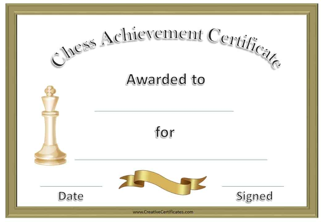 formal chess certificate with a gold border and a gold ribbon