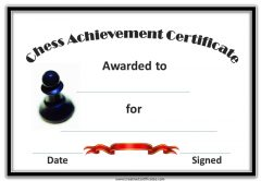 chess achievement certificate with a pawn, black border and a black ribbon