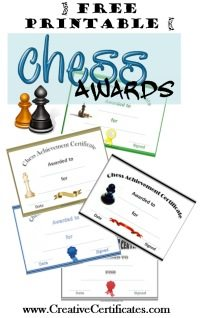 Free printable chess certificates with 6 sample awards that can be downloaded