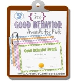 Good behavior awards for kids
