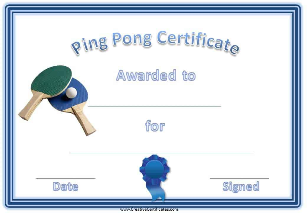 variety of free printable ping pong / table tennis certificates.