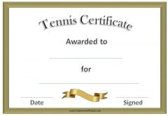 formal gold tennis award certificates