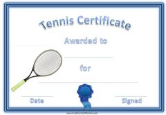 tennis certificate with a picture of a tennis racket