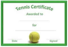 green tennis certificate with a picture of a tennis ball