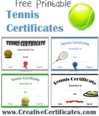 tennis certificate template free