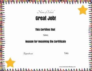 Certificate template with crayon border