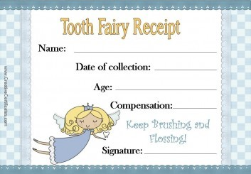 Tooth Fairy Certificate with a blue background and an image of the tooth fairy flying