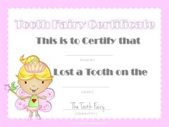 Tooth fairy certificate with pink border