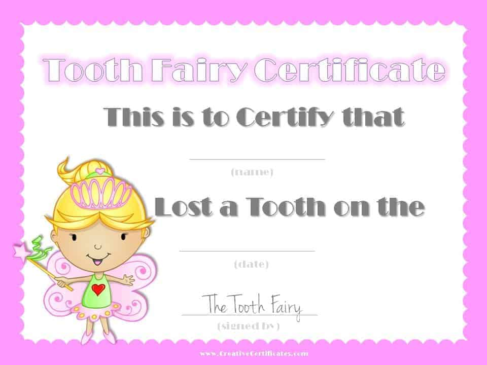 free tooth fairy certificate