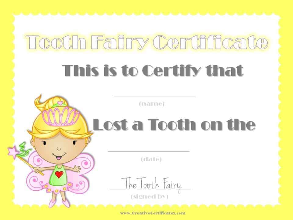 Certificate from the tooth fairy