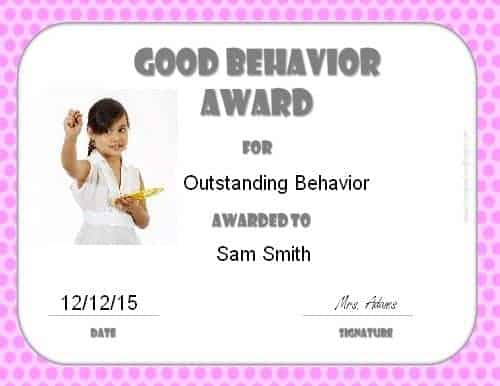 Good behavior award certificate