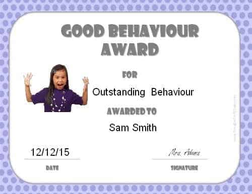 Award for good behaviour