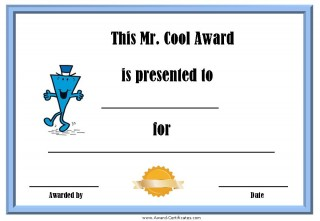 certificate for being cool with a blue border and a picture of Mr Cool