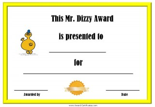 Free printable certificate with a mustard yellow border and a picture of Mr Dizzy