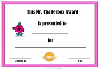award certificate for someone who does not stop talking with a picture of Mr Chatterbox