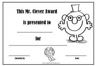 certificate for being clever with a picture of Mr Clever
