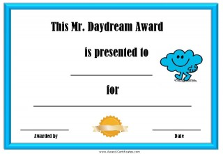 Printable certificate for a daydreamer with a picture of Mr Daydream
